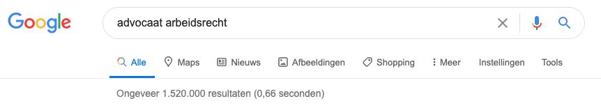 zoekopdracht in Google