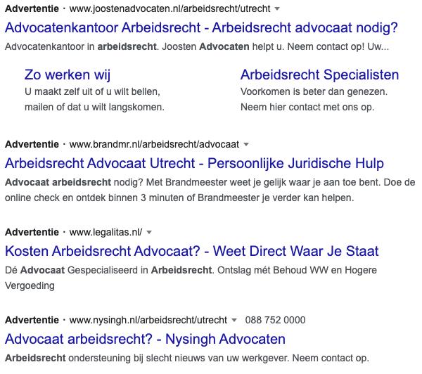 voorbeeld van Google ads