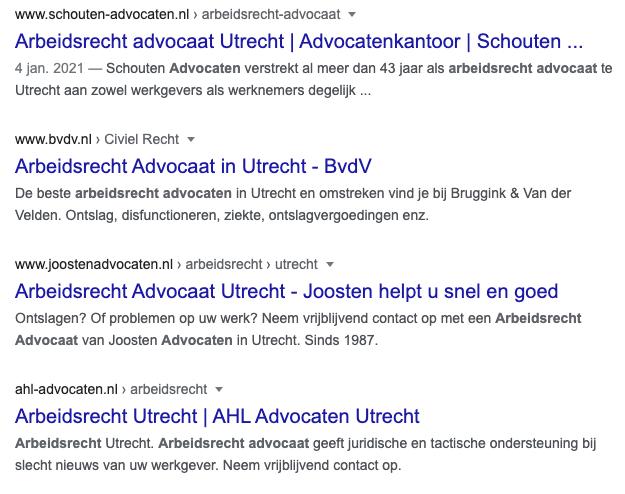 organsiche zoekresulaten Google